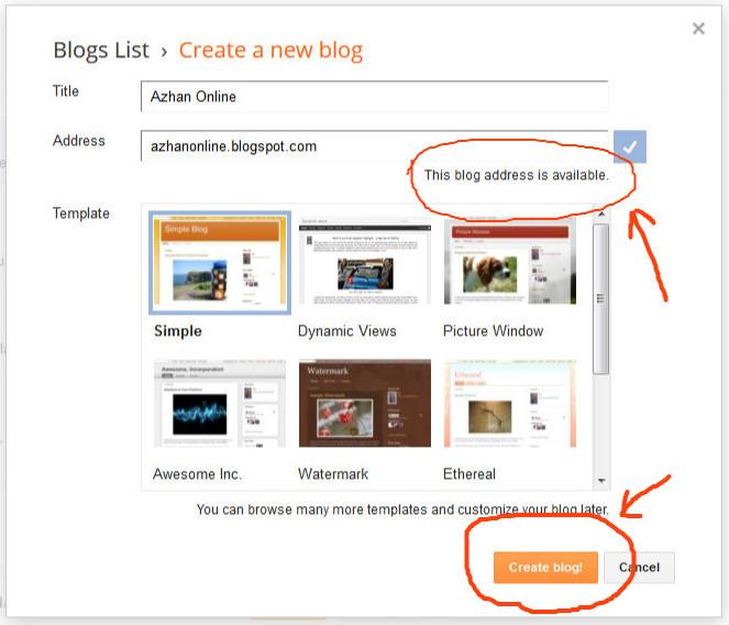 Cara buat blog - langkah 2