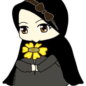 Chibi Islamic Girl Wearing Black Hijab