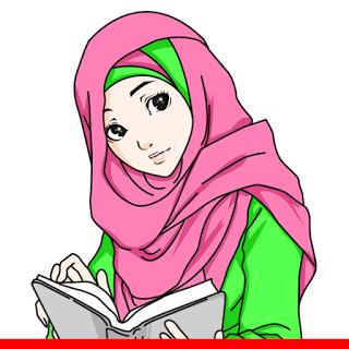 Kartun Muslimah Berkerudung Solehah Gambar Animasi