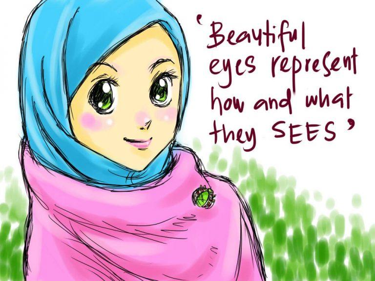 Koleksi Kartun Comel Muslimah Bertudung Azhanco