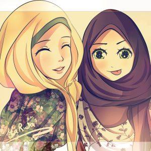 Manga Kartun Gadis Muslimah Bertudung Sahabat Sejati