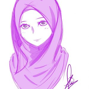 Muslimah Beautiful Sketch By Hayyiwadasan
