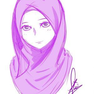 44 Gambar Kartun Muslimah Warna Ungu Gratis Terbaru