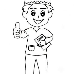 Coloring Pages Muslim Kids Thumbs Up