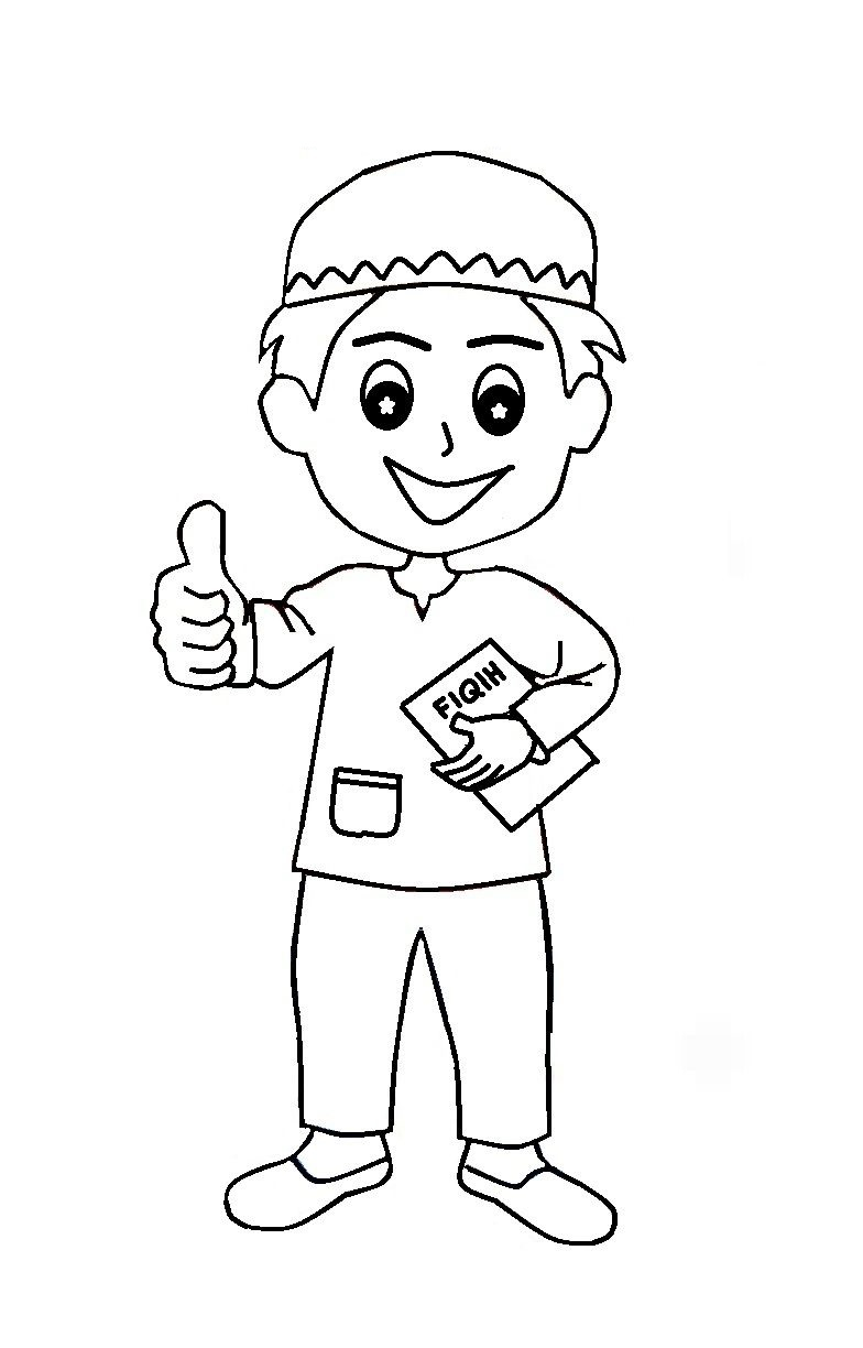 Coloring Pages Muslim Kids Thumbs Up | Azhan.co