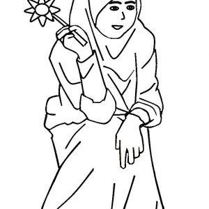 Coloring Sheet Kartun Anak Muslimah