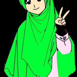 Doodle Muslimah Tudung Labuh Green