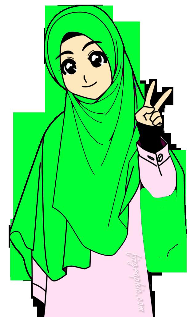 Doodle Muslimah Tudung Labuh Green Azhan Foto Kartun Png