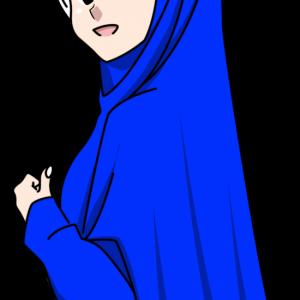 Doodle Wanita Muslimah Hijab Biru