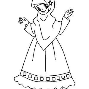 Koleksi Mewarnakan Gambar Muslim Muslimah Azhan Warna Kartun Anak Ceria