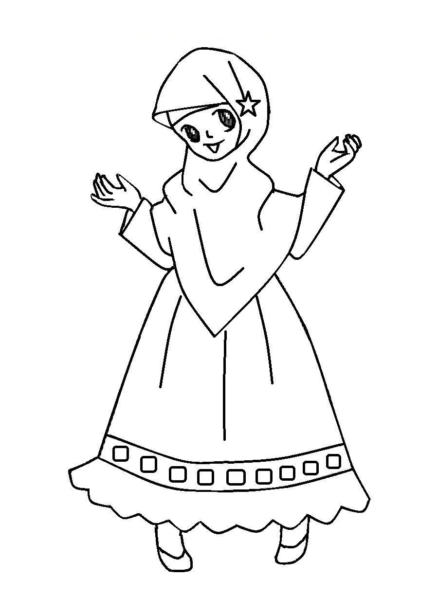 Gambar Warna Kartun Anak Ceria Azhan Animasi Hijab