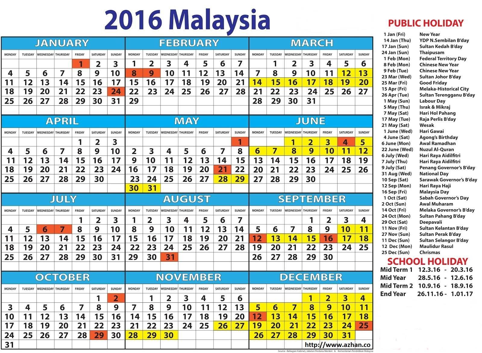Kalendar cuti umum dan cuti sekolah tahun 2016