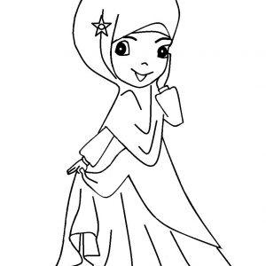 Koleksi Warnakan Gambar Kartun Anak Muslimah