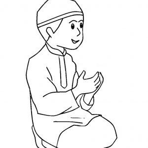 Mewarna Gambar Kartun Anak Muslim Berdoa