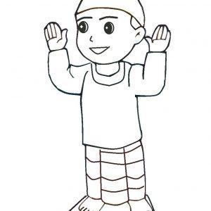 Mewarna Gambar Kartun Anak Muslim Sedang Solat