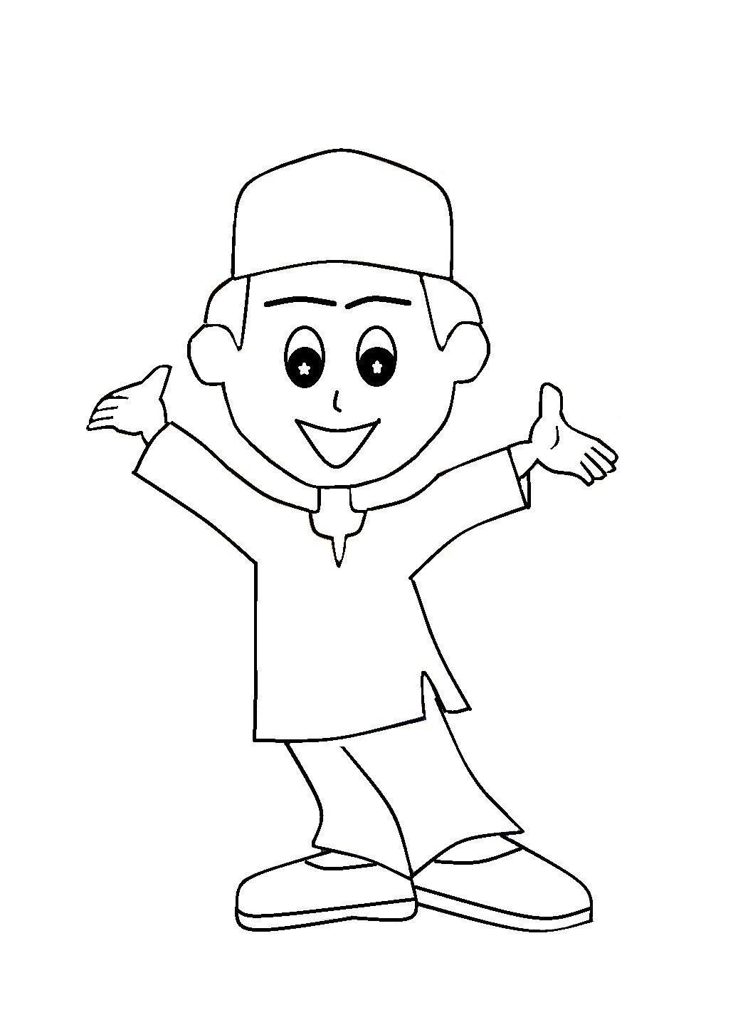 Mewarna Gambar Kartun Anak Muslim
