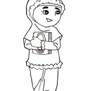 Mewarna Gambar Kartun Anak Muslimah Ke Sekolah