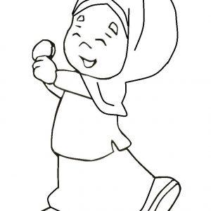 Mewarna Gambar Kartun Anak Perempuan Ceria