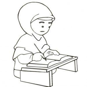 Mewarna Gambar Kartun Budak Perempuan Mengulangkaji Pelajaran