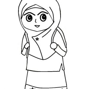 Mewarna Gambar Kartun Muslimah Perempuan