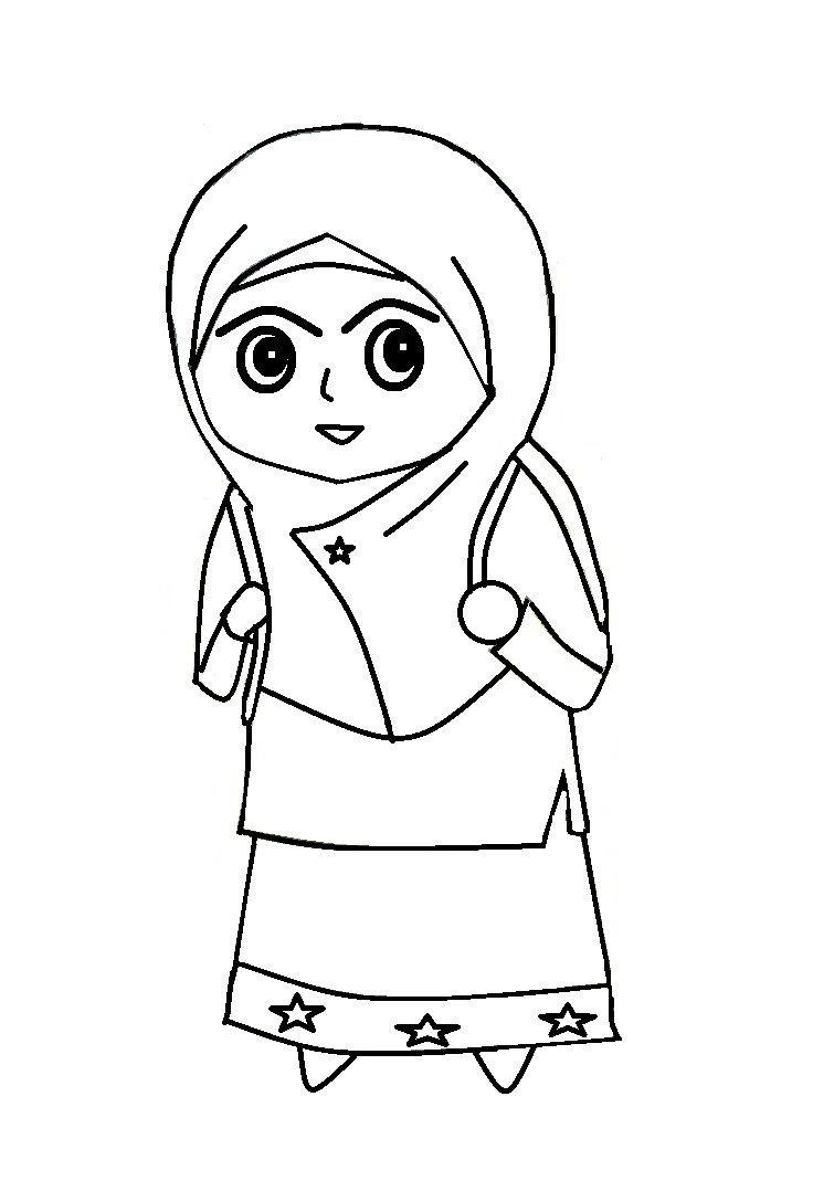 Kumpulan Gambar Kartun Muslimah Hitam Putih Kantor Meme