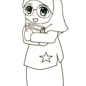 Mewarnai Gambar Cartoon Anak Muslimah Pakai Cermin Mata