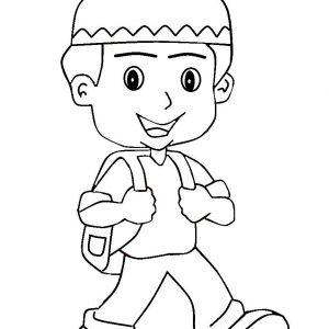 Mewarnai Gambar Kartun Anak Muslim Pergi Sekolah