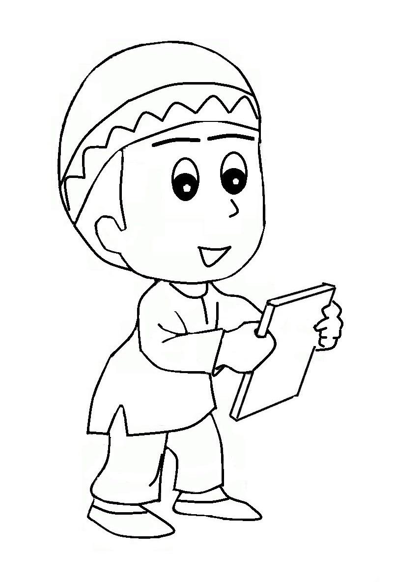 Mewarnai Gambar Kartun Anak Muslim | Azhan.co