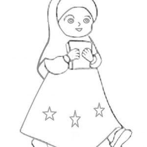 Mewarnai Gambar Kartun Anak Perempuan Muslimah