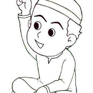Mewarnai Gambar Kartun Kanak-Kanak Muslim