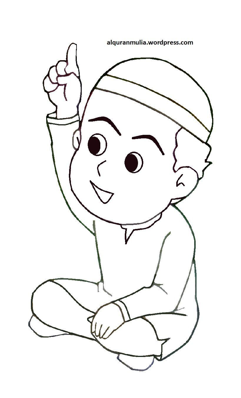 Mewarnai Gambar Kartun Kanak Kanak Muslim
