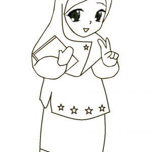 Mewarnai Gambar Kartun Muslimah Comel