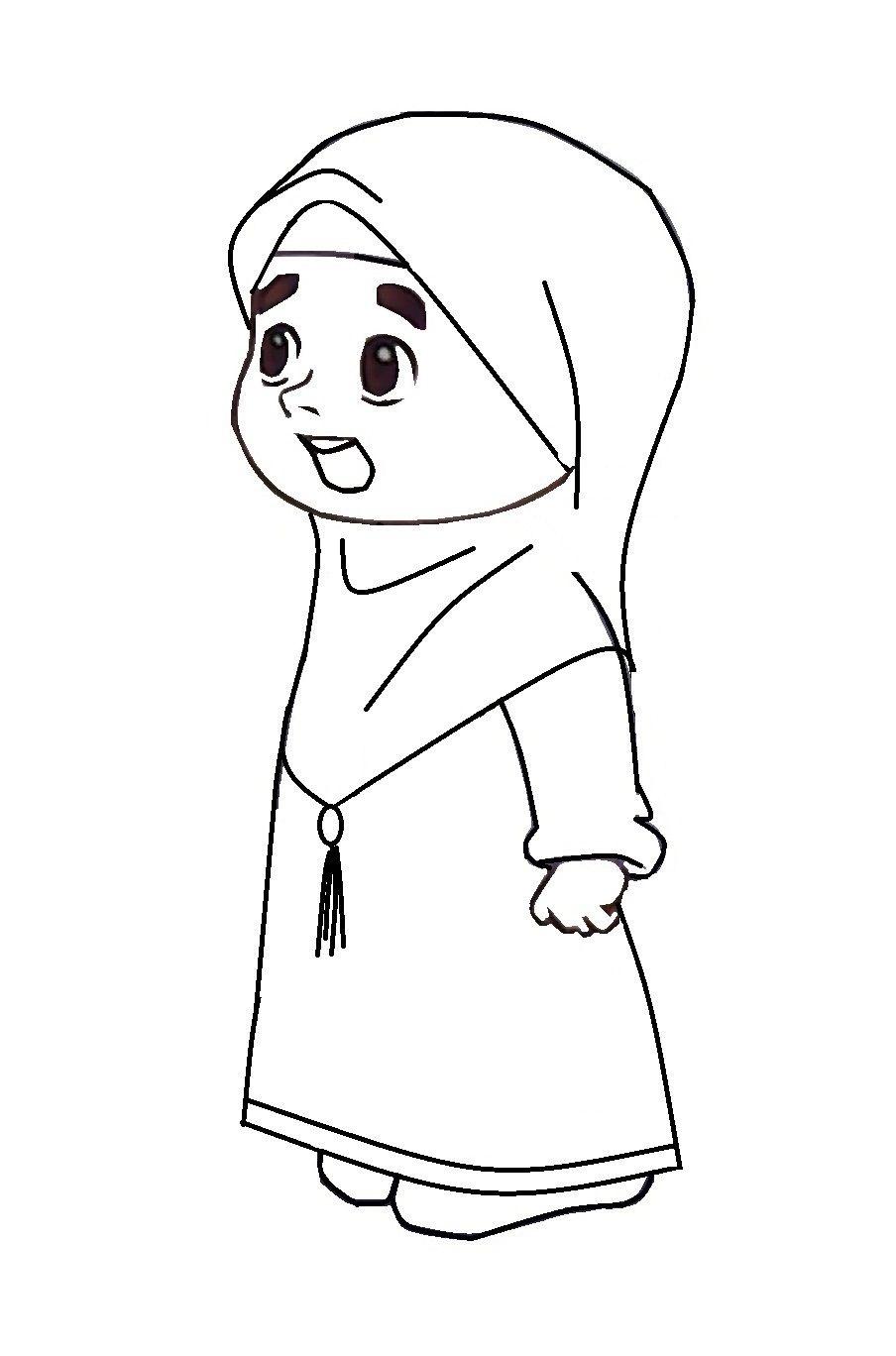 Mewarnai Gambar Kartun Muslimah Hijab