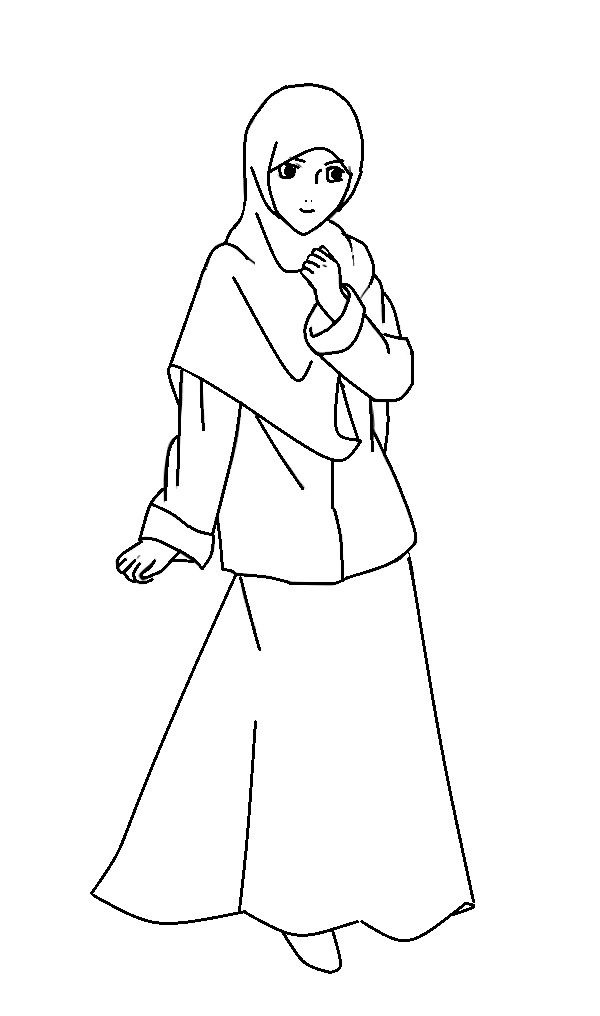 Mewarnai Gambar Kartun Remaja Muslimah | Azhan.co