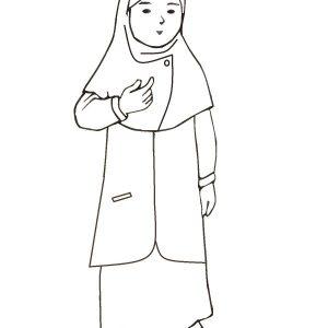 Koleksi Mewarnakan Gambar Muslim Muslimah Azhan Mewarnai Kartun Wanita Sedih