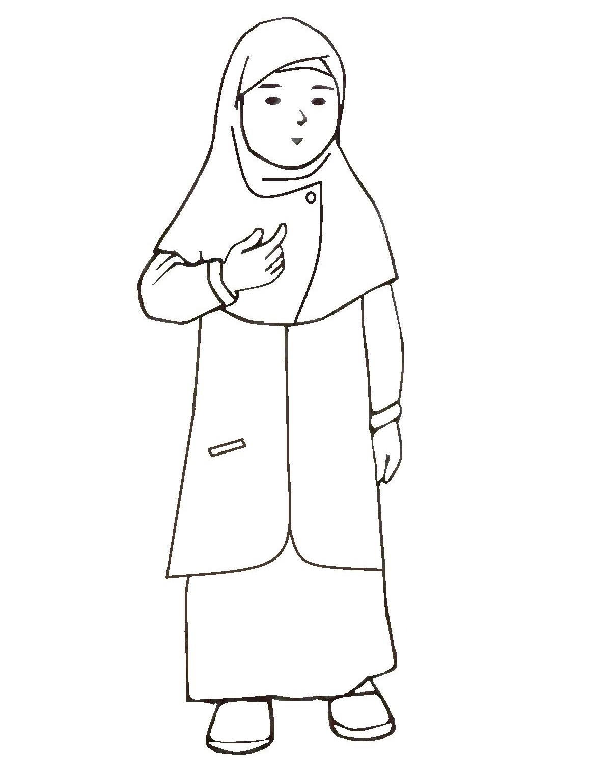 Mewarnai Gambar Kartun Wanita Muslimah Azhan