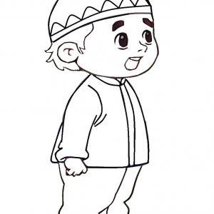 Warnakan Gambar Kartun Anak Muslim