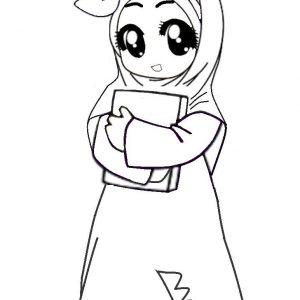 Warnakan Gambar Kartun Muslimah Cute