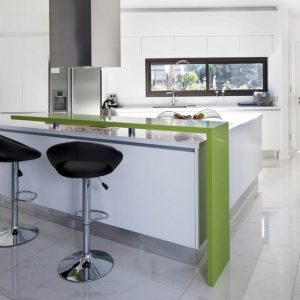 Black Stool, White Counter and Green Bar inside Small Modern Kitchen Design Ideas