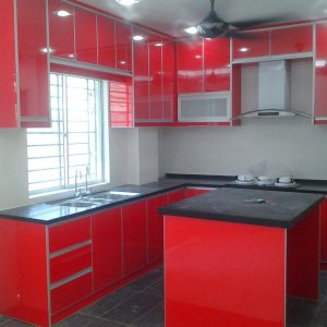 High Gloss 3G Glass Chili Red with Solid Surface
