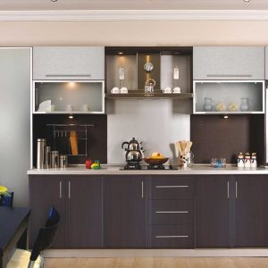 Simple Brown Acrylic Kitchen Cabinets