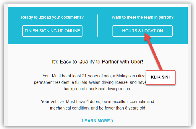 Cara Daftar Pemandu Uber - Lokasi Onboarding