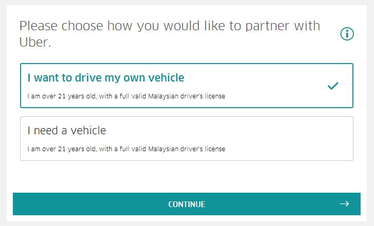 Cara Daftar Pemandu Uber - Step 2