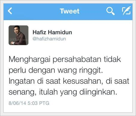 Hafiz Hamidun Tweet
