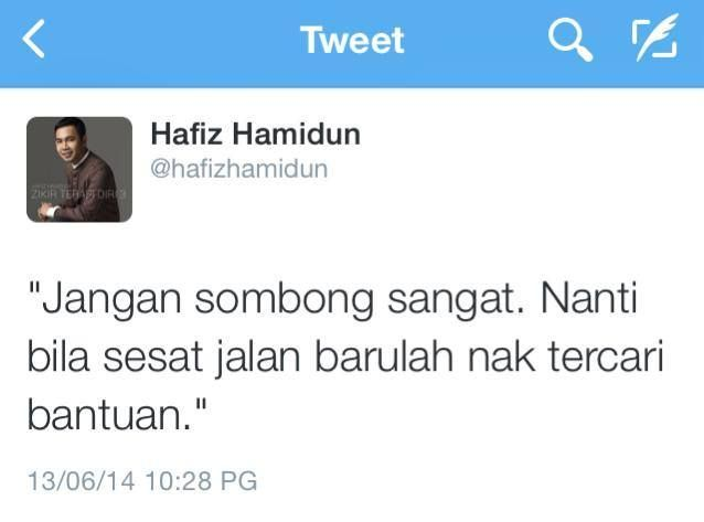 Kata Nasihat Hafiz Hamidun