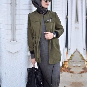 Army Green Bomber Jacket For Muslimah Girl
