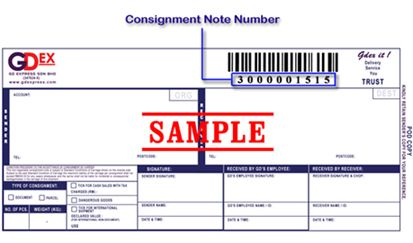GDEX Consignment Note Numbers
