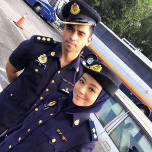 Gambar Artis Ariff Aziz Dan Mira Filzah Pakai Uniform JPJ