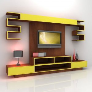 Yellow Modern And Futuristic TV Console Design With Wall Mounted TV