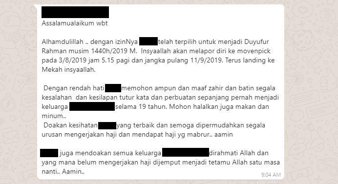 Mesej Tetamu Bakal Mengerjakan Haji